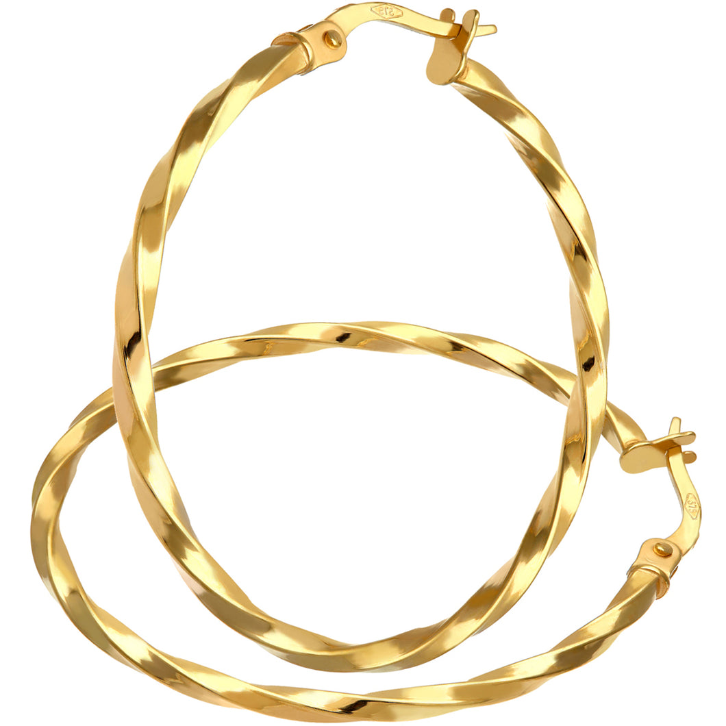 9ct Yellow Gold Twisted Large Hoop Earrings of 30mm Diameter