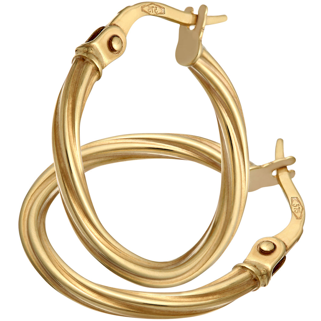 9ct Yellow Gold Textured Hoop Earrings of 1.5cm Diameter