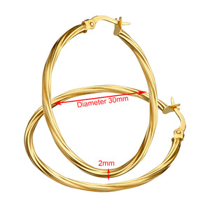 9ct Yellow Gold Textured Hoop Earrings of 3cm Diameter