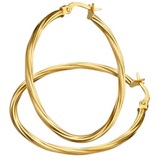 Load image into Gallery viewer, 9ct Yellow Gold Textured Hoop Earrings of 3cm Diameter