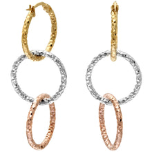 Load image into Gallery viewer, 9ct Yellow White and Rose Gold Diamond Cut Linked Hoop Earrings