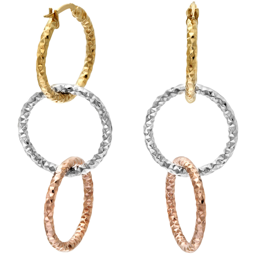 9ct Yellow White and Rose Gold Diamond Cut Linked Hoop Earrings