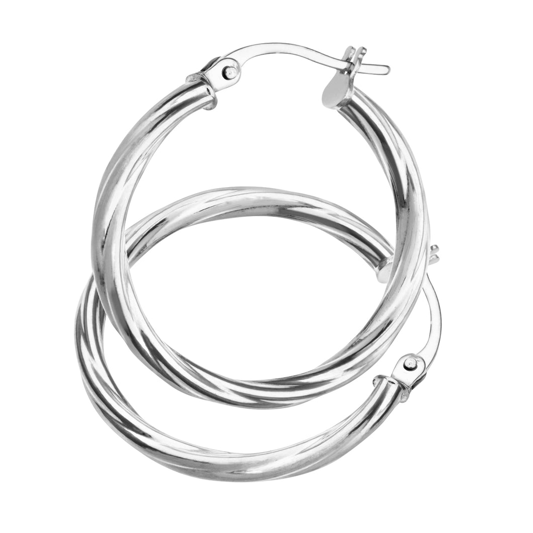 9ct White Gold Ladies Hoop Earrings