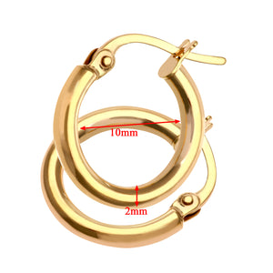 9ct Yellow Gold Ladies Hoop Earrings
