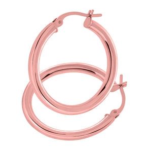 9ct Rose Gold Classic Hoop Earrings