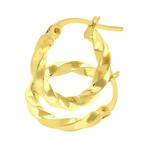 9ct Yellow Gold Chiseled Twist Hoop Earrings