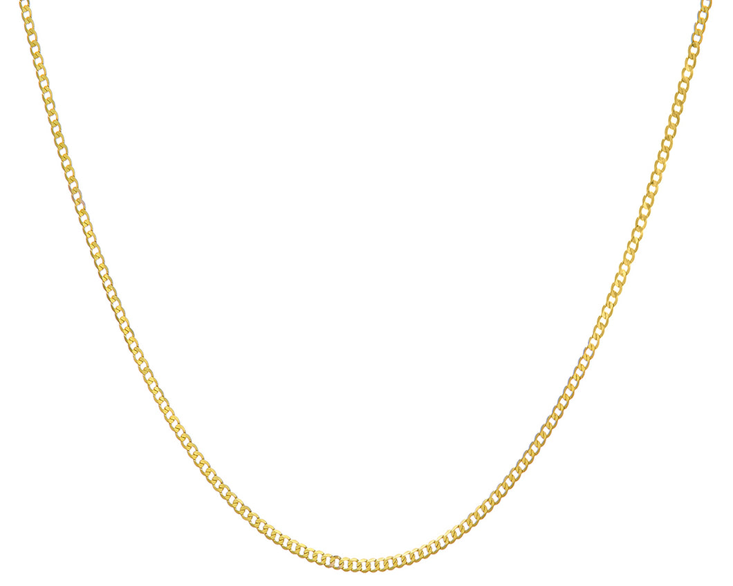9ct Yellow Gold 2.1g Curb Necklace, 46cm/18