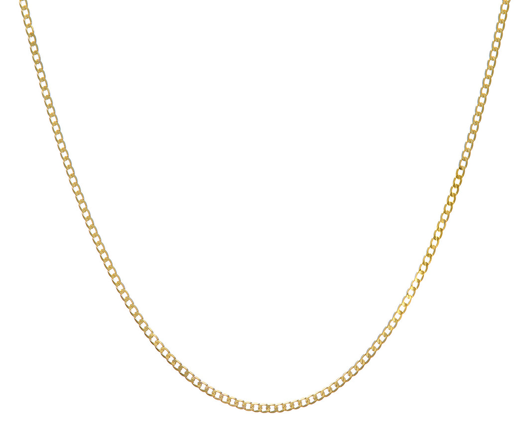 9ct Yellow Gold 3.2g Curb Necklace, 46cm/18