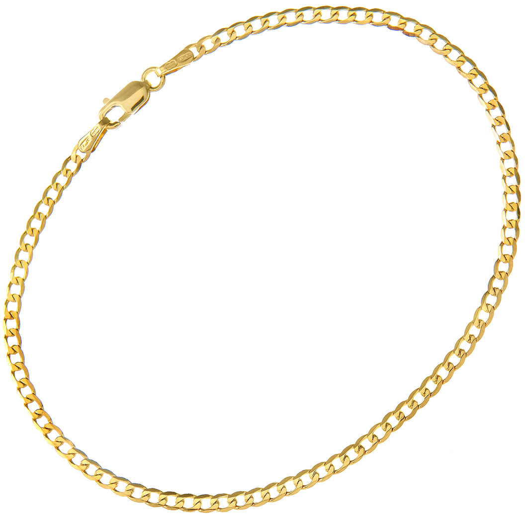 9ct Yellow Gold 1.3g Curb Bracelet, 19cm/7.5
