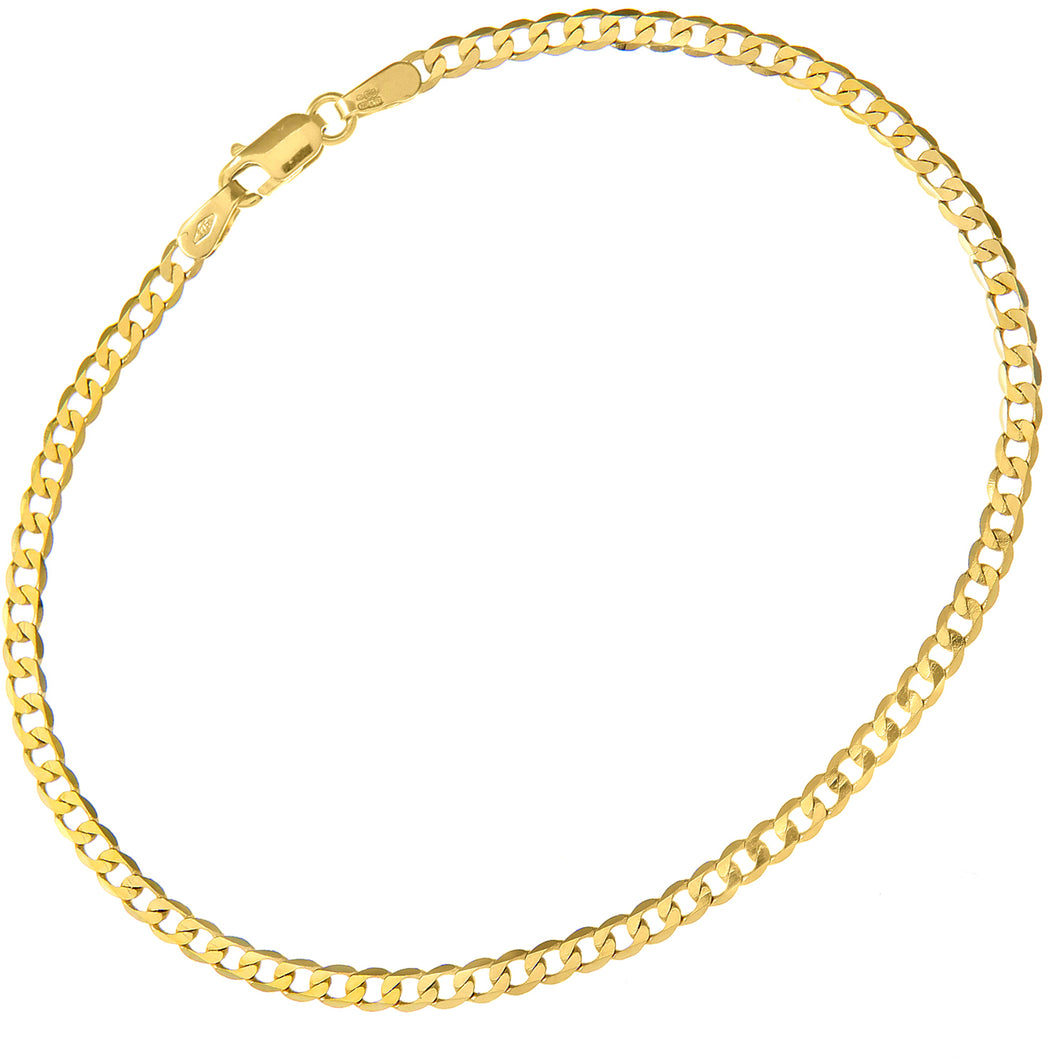 9ct Yellow Gold 1.6g Curb Bracelet, 19cm/7.5