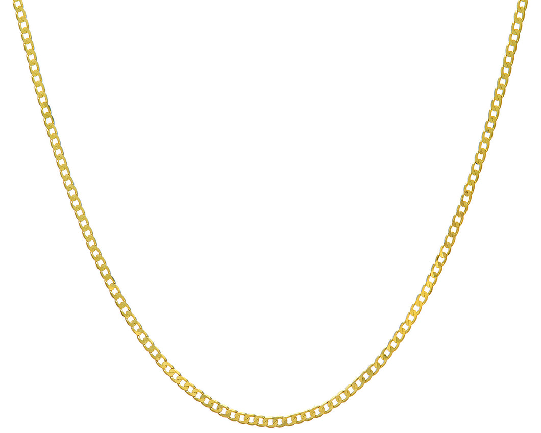 9ct Yellow Gold 7.2g Curb Necklace, 61cm/24