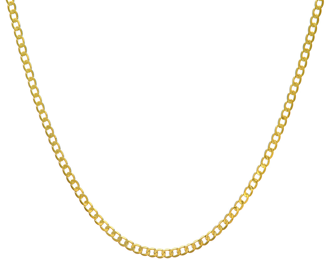 9ct Yellow Gold 7.8g Curb Necklace, 46cm/18