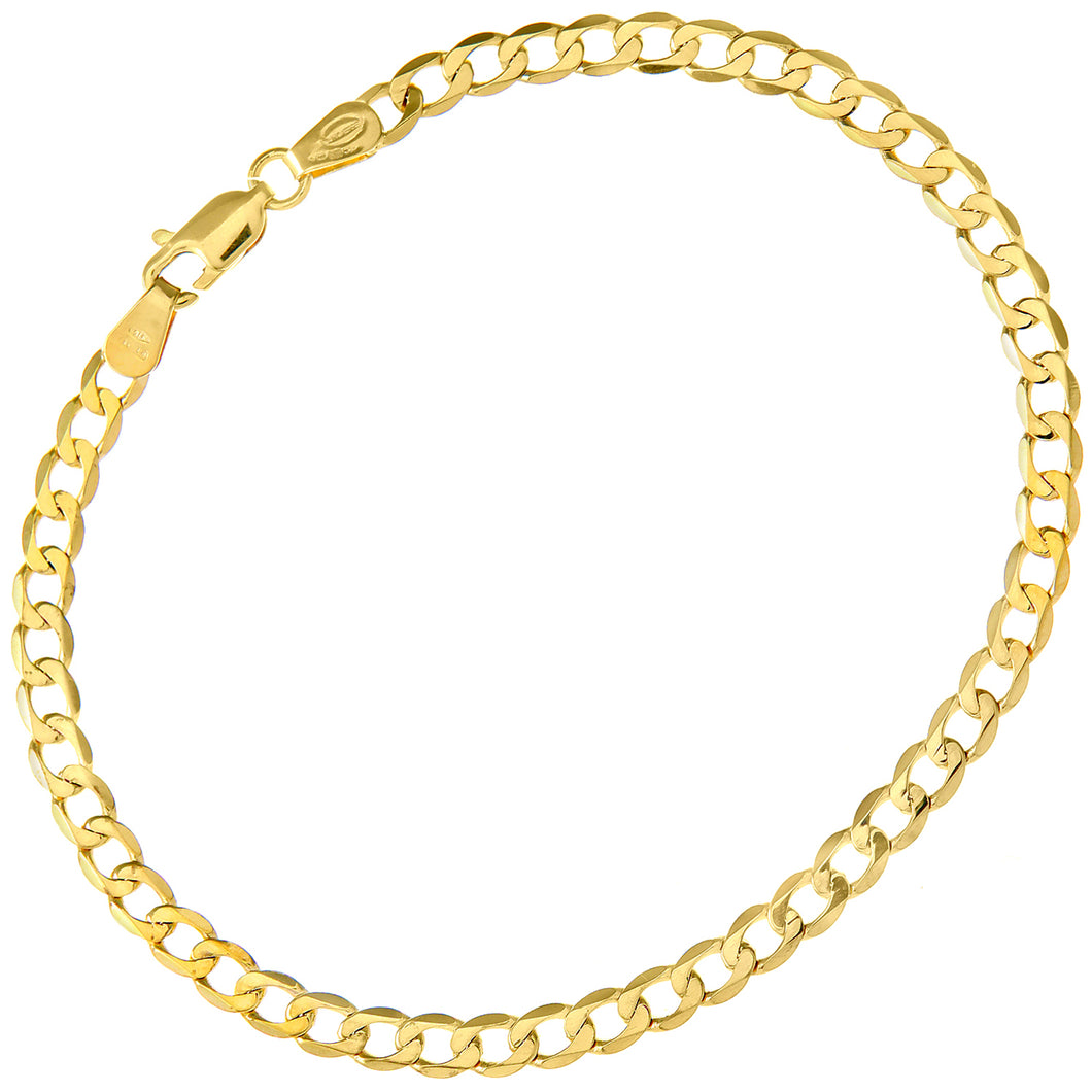 9ct Yellow Gold 3.2g Curb Bracelet, 19cm/7.5