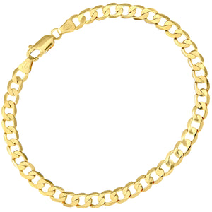 "9ct Yellow Gold 4.1g Curb Bracelet, 19cm/7.5"" Length, 4.7mm Width"