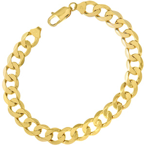 "9ct Yellow Gold 20.6g Curb Bracelet, 22cm/8.5"" Length, 9mm Width"