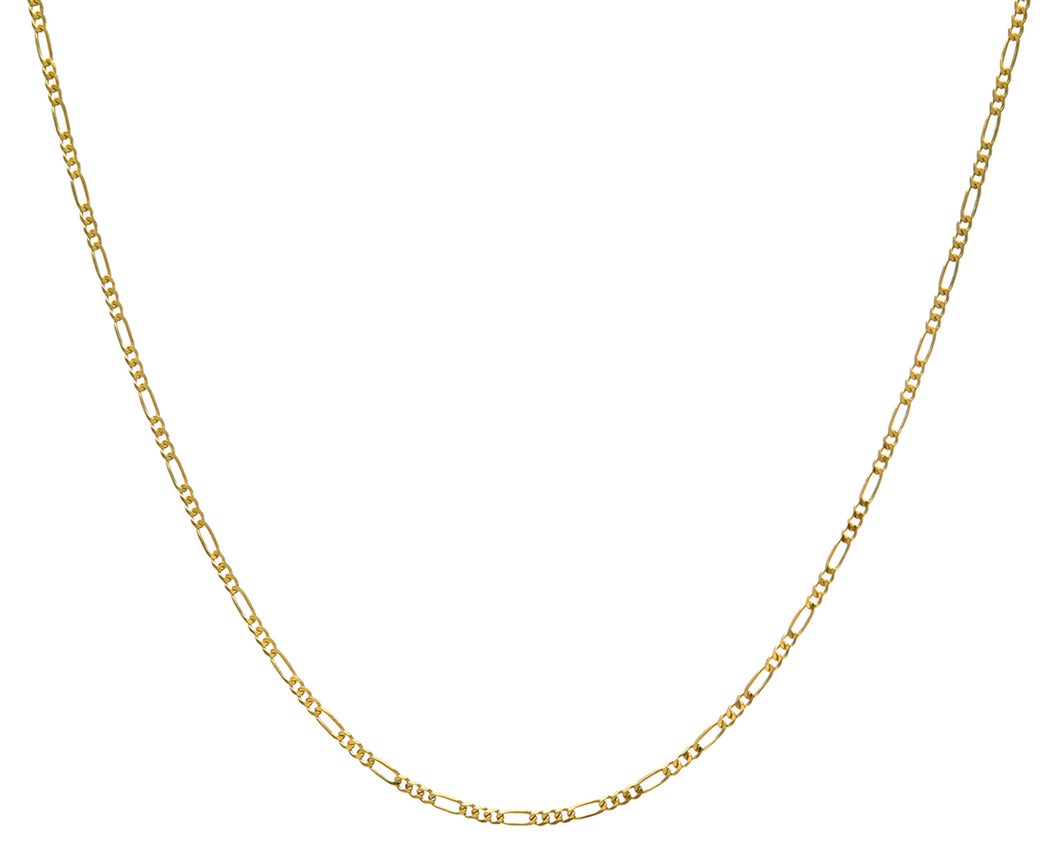 9ct Yellow Gold 3.4g Figaro Necklace, 41cm/16