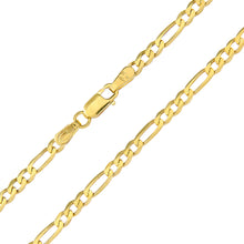 "Load image into Gallery viewer, 9ct Yellow Gold 2.6g Figaro Bracelet, 19cm/7.5"" Length, 3mm Width"