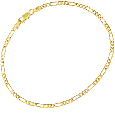 9ct Yellow Gold 2.6g Figaro Bracelet, 19cm/7.5