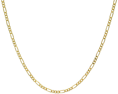 9ct Yellow Gold 9.9g Figaro Necklace, 46cm/18