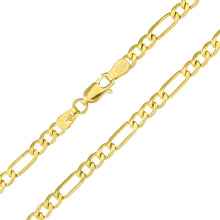 "Load image into Gallery viewer, 9ct Yellow Gold 4.1g Figaro Bracelet, 19cm/7.5"" Length, 4mm Width"