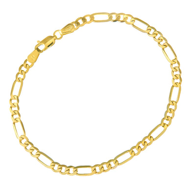 9ct Yellow Gold 4.1g Figaro Bracelet, 19cm/7.5