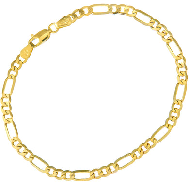 9ct Yellow Gold 4.7g Figaro Bracelet, 22cm/8.5
