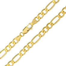 "Load image into Gallery viewer, 9ct Yellow Gold 7g Figaro Bracelet, 22cm/8.5"" Length, 5.2mm Width"
