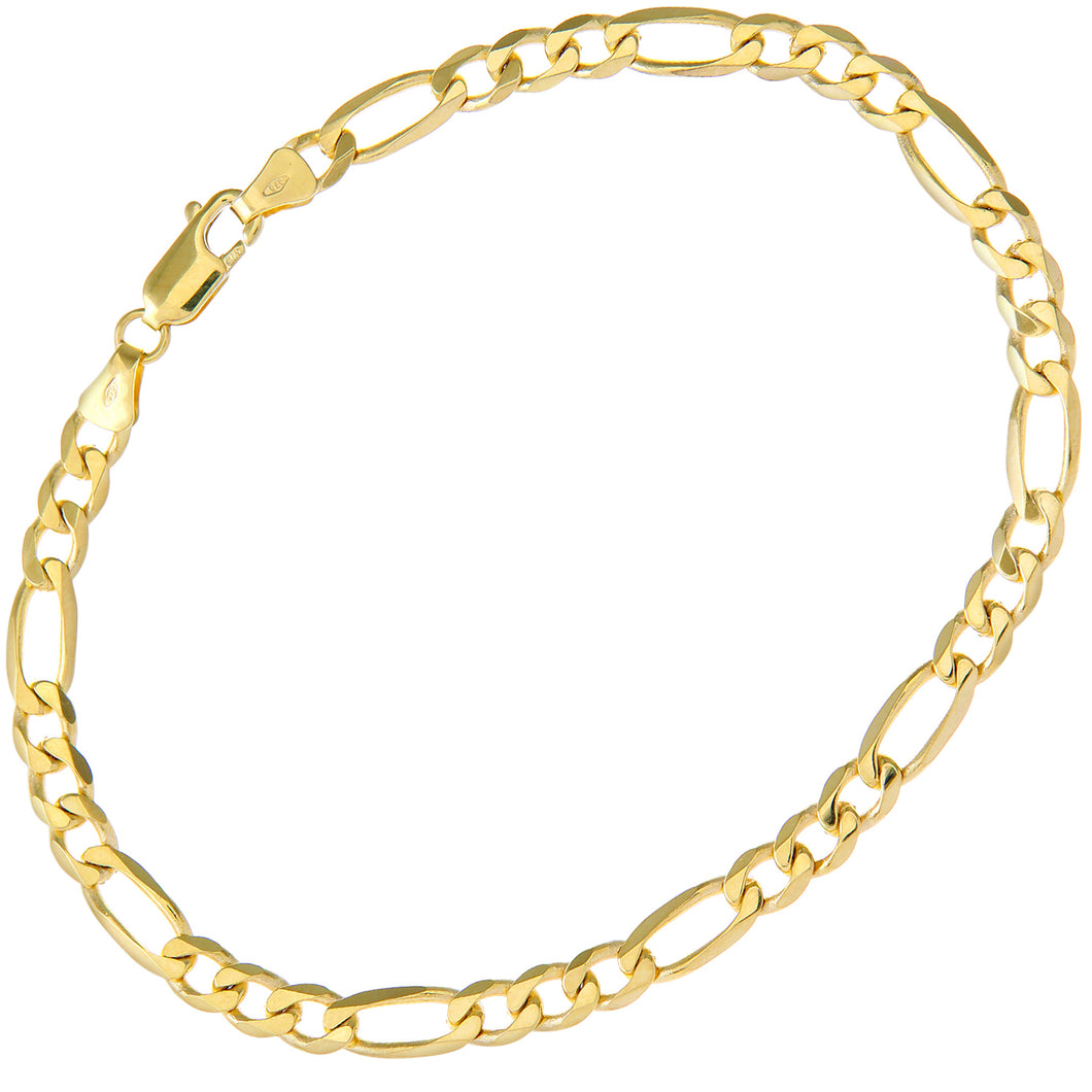 9ct Yellow Gold 7g Figaro Bracelet, 22cm/8.5