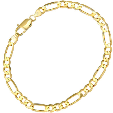 9ct Yellow Gold 9.3g Figaro Bracelet, 22cm/8.5