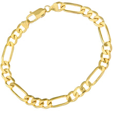"Load image into Gallery viewer, 9ct Yellow Gold 12.7g Figaro Bracelet, 22cm/8.5"" Length, 7mm Width"