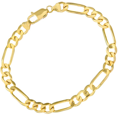 9ct Yellow Gold 12.7g Figaro Bracelet, 22cm/8.5