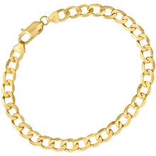 "Load image into Gallery viewer, 9ct Yellow Gold 11.2g Curb Bracelet, 22cm/8.5"" Length, 6.6mm Width"
