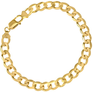"9ct Yellow Gold 15.5g Curb Bracelet, 22cm/8.5"" Length, 7.8mm Width"