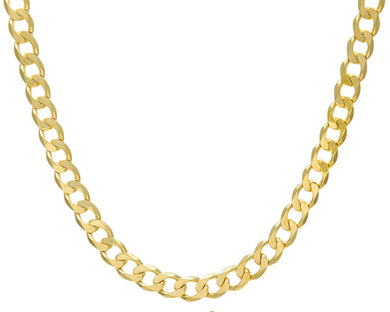 9ct Yellow Gold 72.8g Curb Necklace, 56cm/22