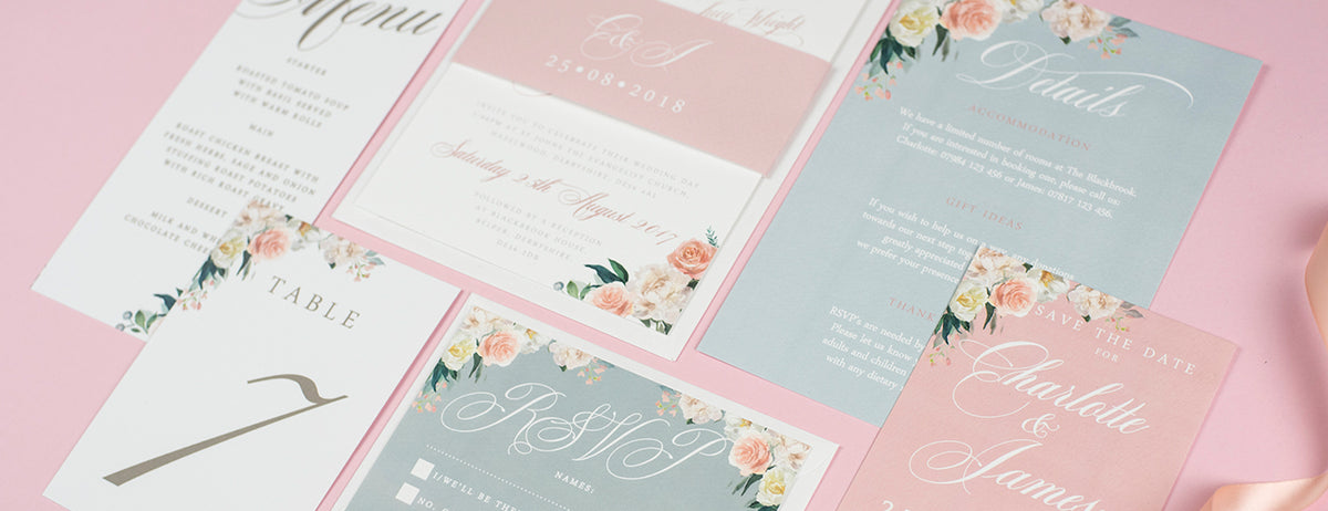 Wedding Invitations UK - Watercolour Flowers