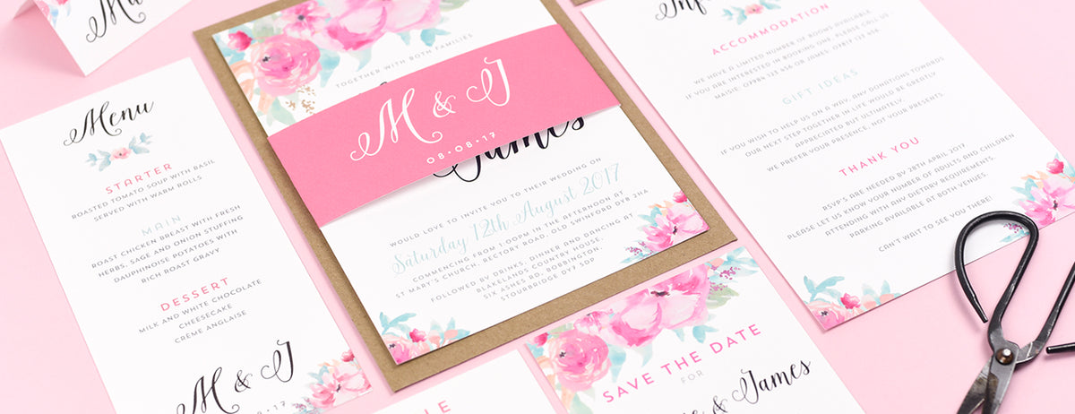 Wedding Invitations UK Watercolour Flowers