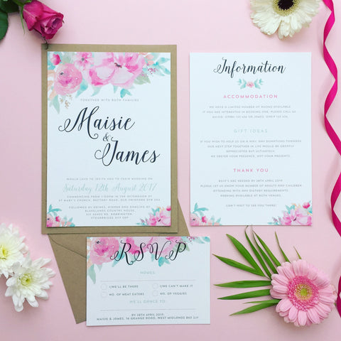 Wedding Stationery West Midlands - EivisSa Kind Designs watercolour flowers