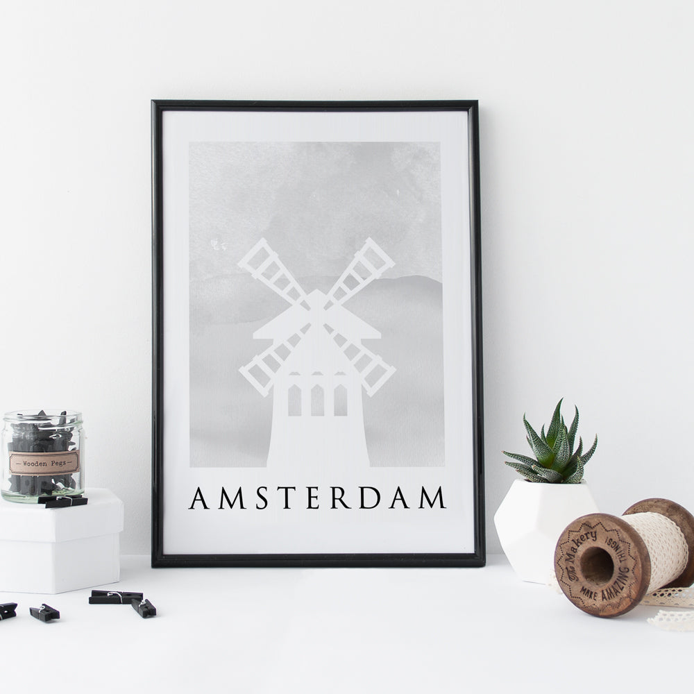 Travel Poster - AMSTERDAM - Watercolour Windmill Print
