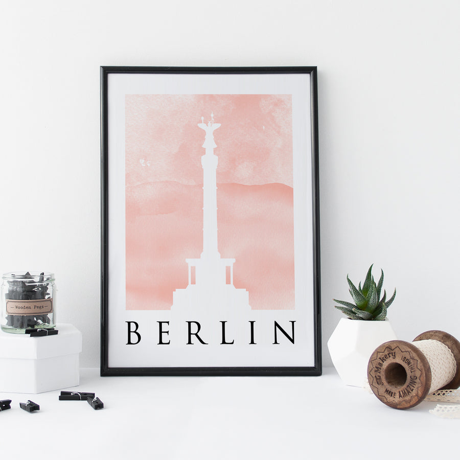 Travel Poster - BERLIN - Watercolour Spire and Gate Print