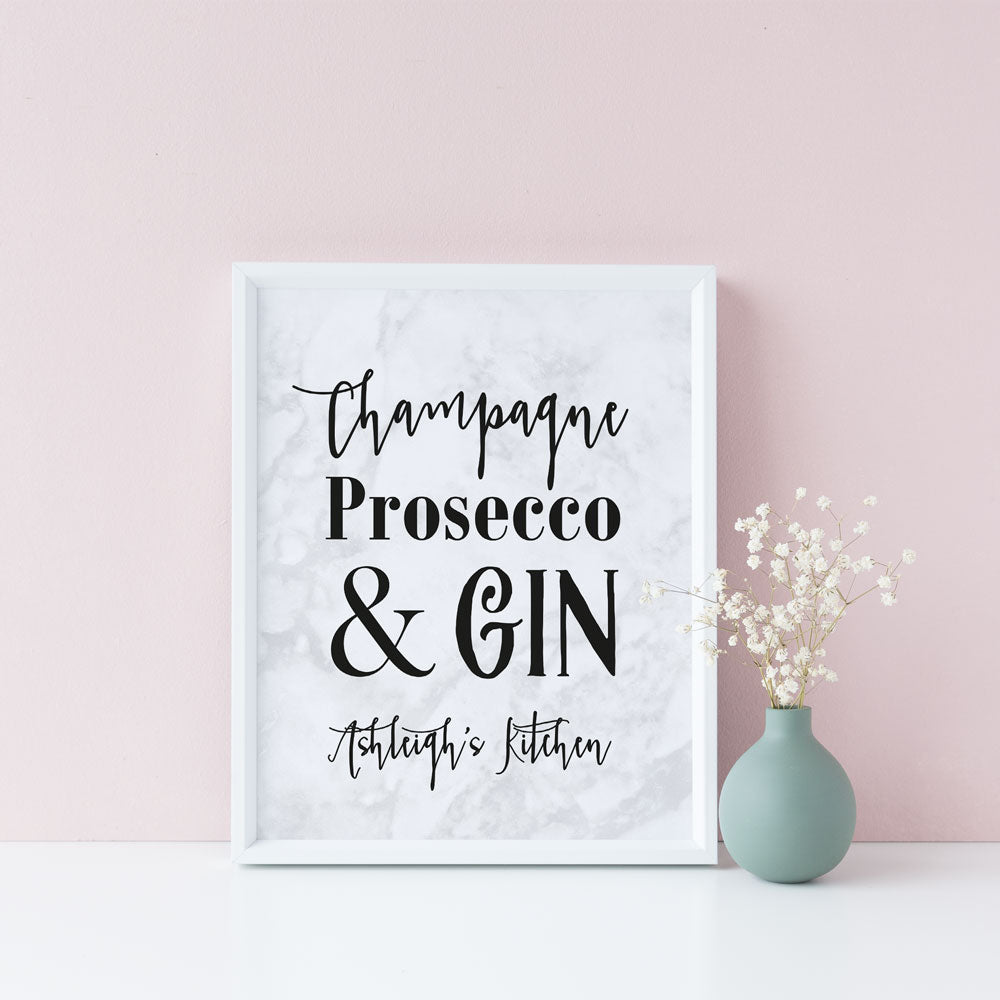 champagne prosecco gin oh my plain or personalised print