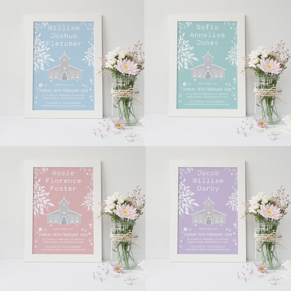 Christening Day Print - Children's Keepsake Art - 4x Colours