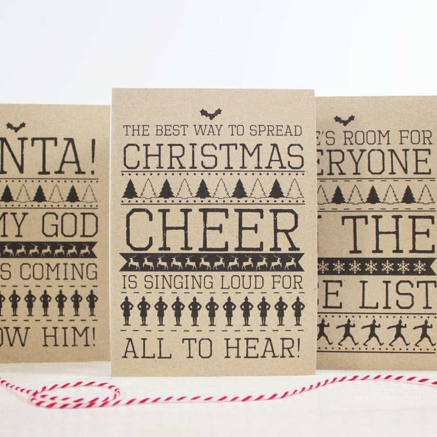 Christmas Cards A6 - Christmas Jumper Elf Cards - Rustic Kraft Christmas Cards - Multi-pack Christmas Cards!