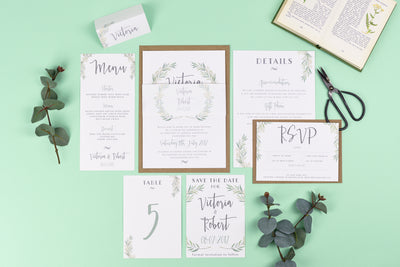 Foil Aisling Eucalyptus Botanical Wedding Invitations