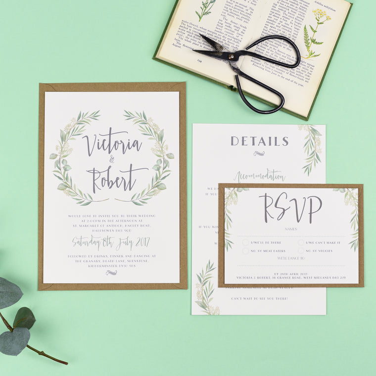 Watercolour Greenery Eucalyptus Wedding Invitations - Aisling - Eivissa Kind Designs Wedding Stationery West Midlands UK
