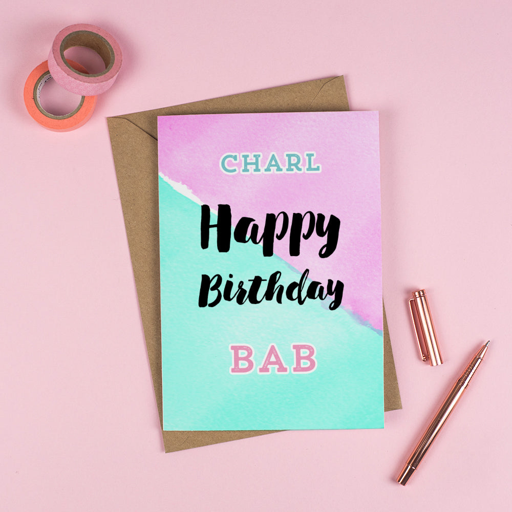 Happy Birthday 'BAB' - Personalised Rude Card