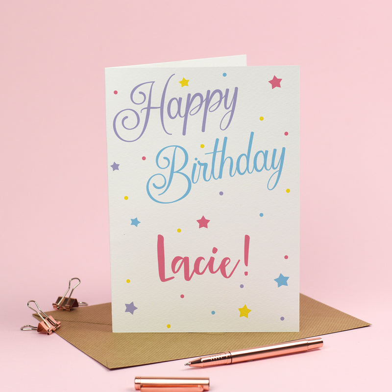 Happy Birthday Card - Personalised Pretty Stars