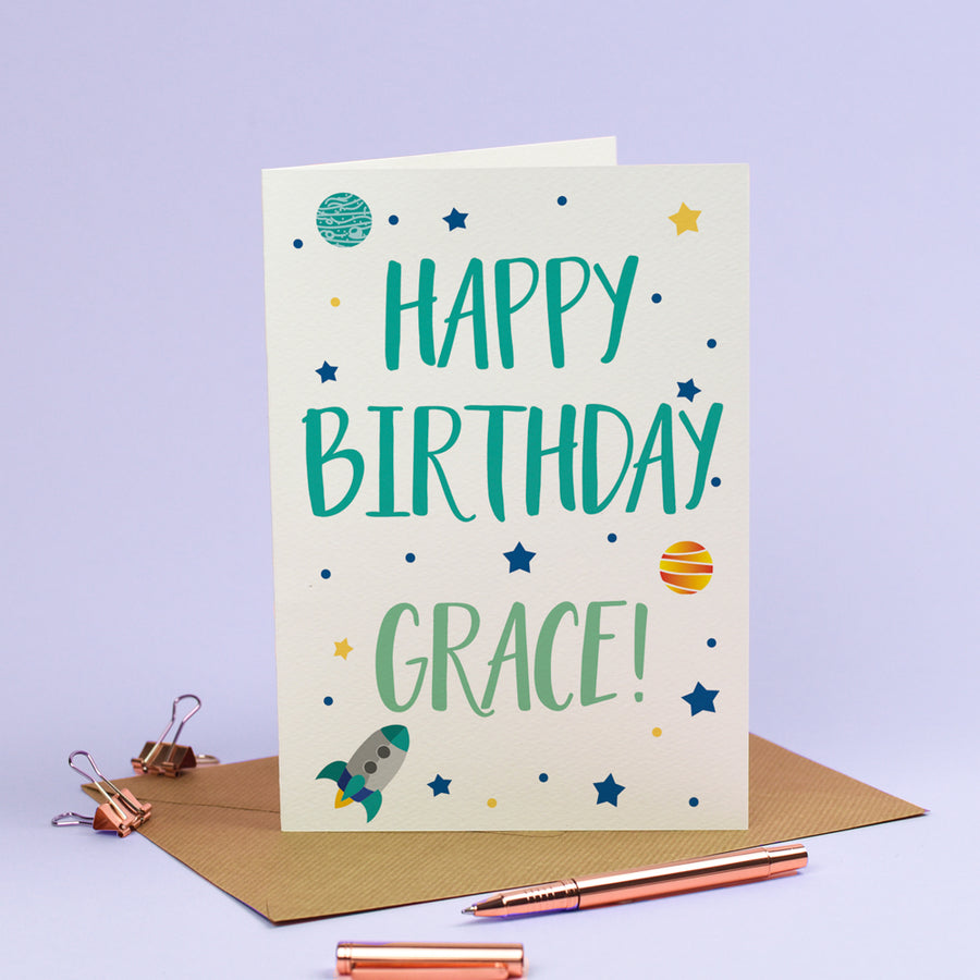 Happy Birthday Card - Personalised Rockets Spaceship Stars Galaxy in Cosmic Blue
