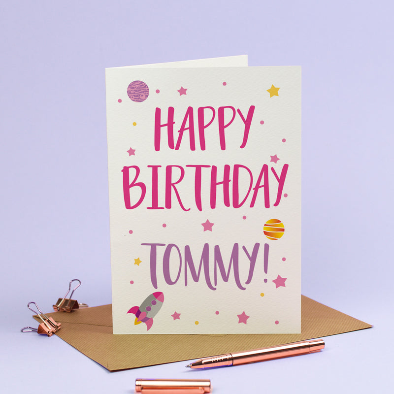 Happy Birthday Card - Personalised Rockets Spaceship Stars Galaxy in Cosmic Pink