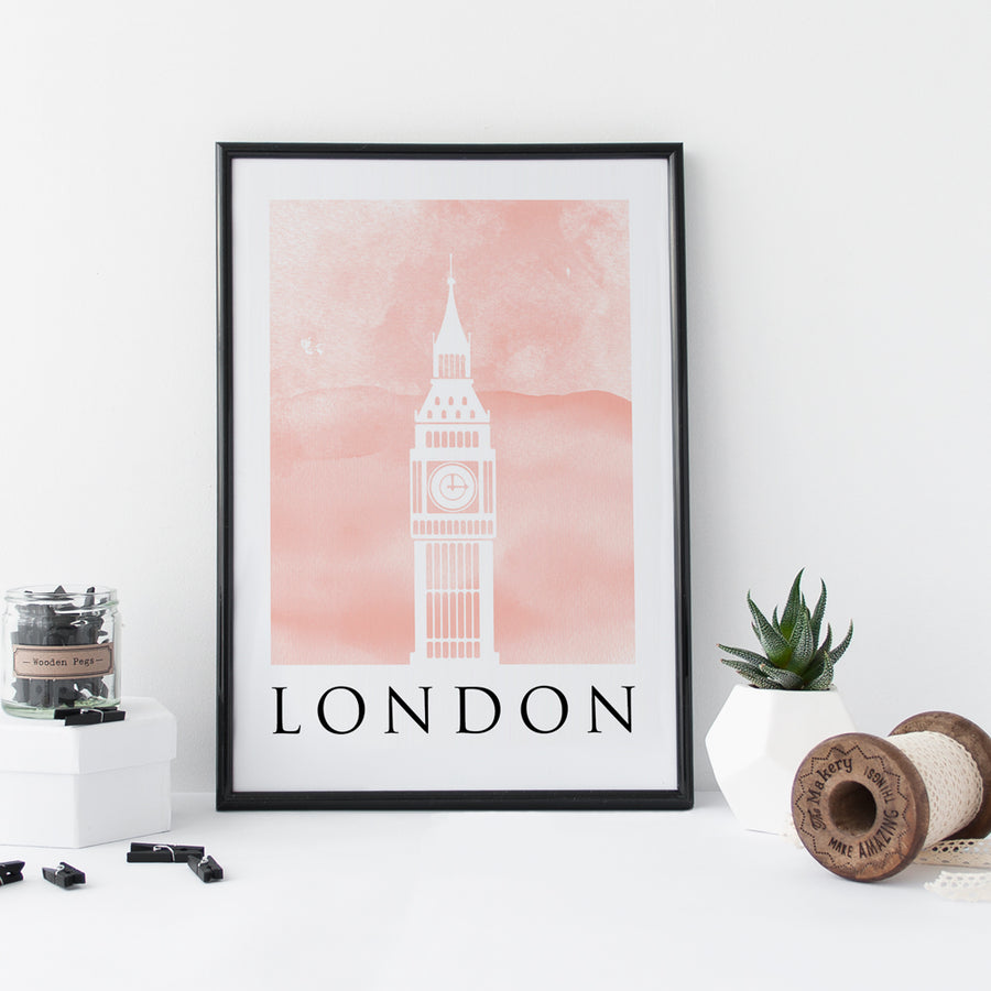 Travel Poster - LONDON - Watercolour Big Ben Print