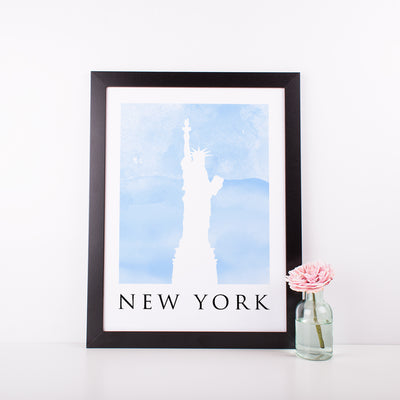 Travel Poster - NEW YORK - Watercolour Statue of Liberty Print